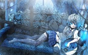 anime, girl, skirt, weapon, is, Stockings, tie, minigun, sofa