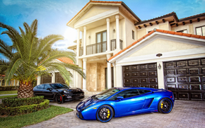 Car, machinery, Tuning, Mansion, home, villa, sun, Lamborghini