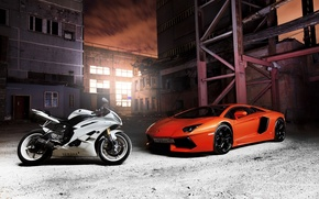 Lamborghini, Aventador, orange, cars, machinery, Car