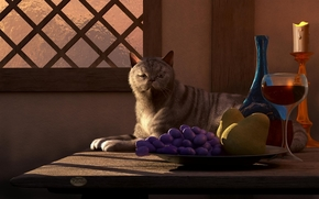 Art, cat, cat, table, candle, goblet, wine, fruit, cup, grapes, pears, window