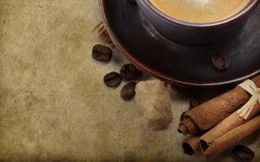 coffee, cup, mug, saucer, grain, cinnamon, sugar, background