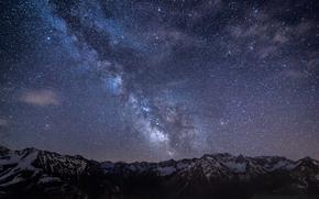 Germany, bavaria, Mountains, night, sky, Star, Milky Way