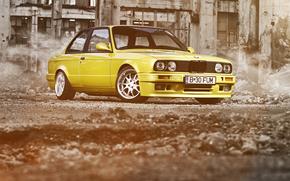 BMW, yellow, ruins, bmw