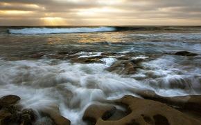 mar, rochas, pr do sol, natureza, paisagem