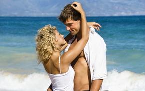 tipo, nia, Los amantes, sonrer, humor, sentido, mar, playa, verano, ondas