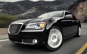 Chrysler, berlina, nero, anteriore, strada, sfondo, Altri marchi