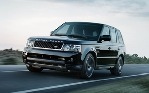Land Rover, ranged rover, Sport, jeep, Black, front, road, sky, Land Rover