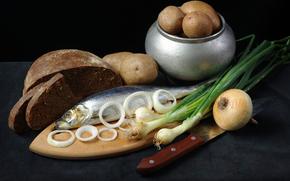 картошка, горшочек, селёдка, лук, кольца, чёрный хлеб, доска, нож