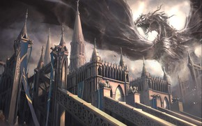 Art, dragon, castle, monster, jaws, wings