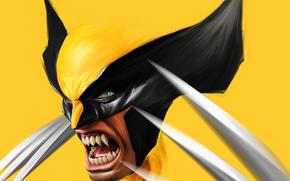 Арт, Росомаха, Логан, Wolverine, art, рисунок, жолтый, Marvel, Comics, x-men, люди икс, когти, зло, клыки, фильм, фильмы, кино