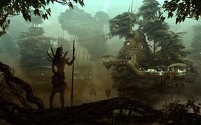 女孩, 女猎手, 森林, 美丽的城市, 黄昏, 树, 雾, 桥梁, 房屋, 平台