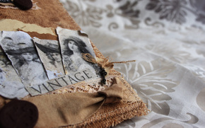 Vintage, album, photo, key, tablecloth
