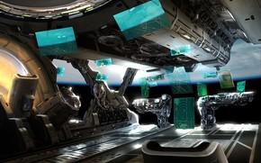 арт, корабль, отсек, управление, интерфейс, космос, планета