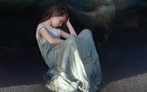 Art, girl, girl, rock, sand, Sitting, sleeps, dress, shadow, Tenek