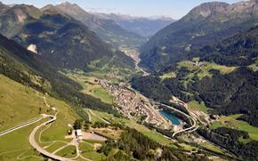Schweiz, Gebirge, Strae, See, Teich, Teich, Dorf, nach Hause, Huser, Hhe, Wald, Himmel, Wolken, Schnheit