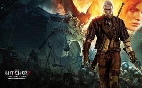 Geralt, Triss, zamek, smok