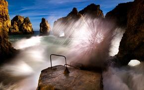sea, rocks, Wave, nature, landscape