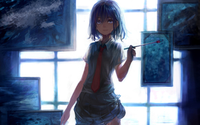 artist, brush, picture, window, light, tie