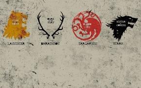 Game of Thrones, casa, Rigido, Targaryen, Baration, Lanister, lyutovolk, drago, cervo, leone, Emblema