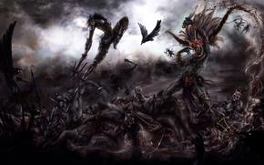 Art, hunter, demons, wizard, battle, Demons, Ravens