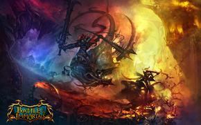 battle, immortals, flight, battle, Dragons, fire, Monsters, Warriors, Swords