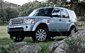 Лэнд Ровер, Дискавери, джип, внедорожник, передок, камни, трава, деревья, Land Rover
