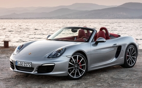 Порше, Бокстер, суперкар, серебристый, передок, берег, вода, горы, Porsche