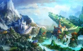 幻想, 网络游戏, 城堡, 桥梁, 山, 景观, 童话般的风景