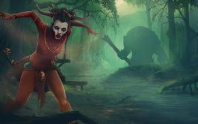 Art, shaman, forest, creek, Trees, magic, monster, club