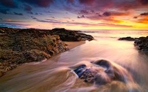 закат, небо, облака, море, берег, камень, скала