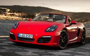 Porsche, bokster, Supercar, Front, rot, Hintergrund, Porsche