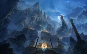 Art, night, Mountains, stairs, ladder, temple, moon, column, sculpture