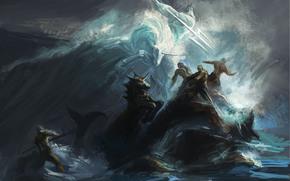 Arte, battaglia, mare, tempesta, tempesta, oceano, onde, Poseidon, unicorno, Rocks, persone, tridente