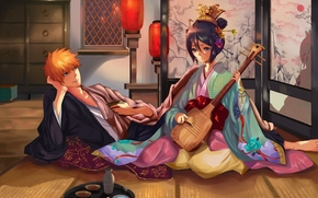Art, girl, guy, kimono, musical instrument, screen, flashlights
