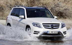 Мерседес, ГЛк, кроссовер, джип, передок, белый, вода, брод, Mercedes