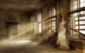 призрак, свет, заброшенное, помещение