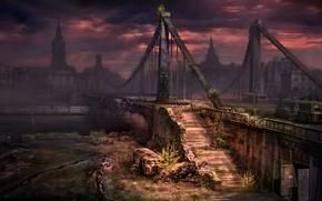 New Union, Moscow, bridge, war, river, evening
