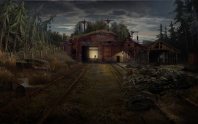 New Union, warehouse, Russia, forest, evening
