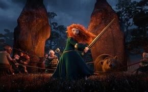 brave heart, Cartoon, Disney, Pixar, Scotland, Merida, princess, Redhead girl, archer, Warrior, Scotch, bear, dolmens