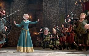 Braveheart, cartone animato, disney, Pixar, Scozia, Merida, Principessa, arciere, Warriors, Scotch, Re, regina, castello, Candele, riunione