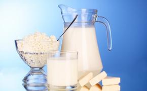 стакан, кувшин, чашка, творог, молоко, сыр, ломтики, отражение