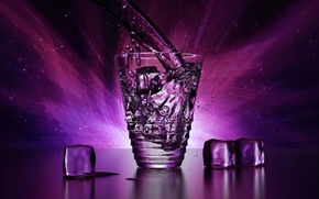 Rendering, Blender, glass, goblet, transparent, ice, ice, icicles, cubes, block, Three, drops, spray, purple, water, light, brightness, beauty, shine, effect