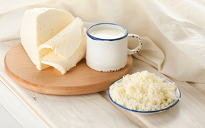 кружка, доска, блюдце, ткань, творог, молоко, сыр