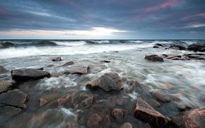 mare, pietre, notte, natura, paesaggio