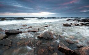 mar, piedras, noche, Naturaleza, paisaje