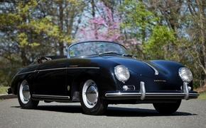 Porsche, roadster, anteriore, nero, classico, sfondo, Porsche