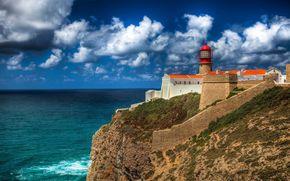 Португалия, маяк, море, побережье