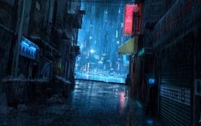 человек, переулок, вывеска, мусорный бак, дождь, ночь