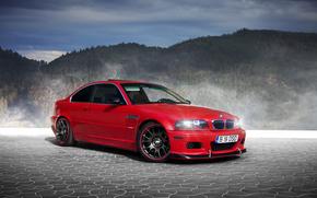 BMW, rouge, fort, Montagnes, brouillard, pav, BMW