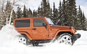 jeep, rengler, Unlimited, sugar, side view, SUV, snow, Trees, Jeep